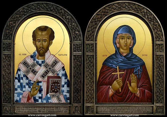 Click to see St. John Chrysostom and St. Petka (Paraskeva) matching pair of icons